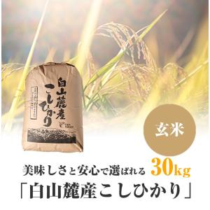 美味しさと安心で選ばれる「白山麓産こしひかり」 玄米 30kg
