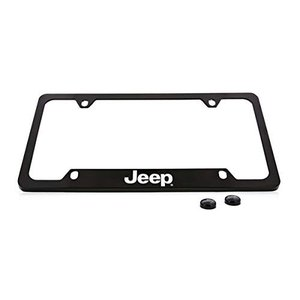 ジープワードマークナンバープレートフレームホルダー(4穴/真鍮、黒/底(Jeep Wordmark ...