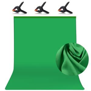 撮影用背景布 背景布 緑 バーチャル背景 強力クリップ 1.5 x 2.0m クロマキー バックペーパー グリーン 布バック ボール対応 スタジオ 暗幕 撮影用  JPL024|halhal