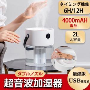 ダブルノズル 加湿器 卓上 超音波式 USB充電  加湿器 大容量 卓上加湿器  2L LEDライト タイミング機能 静音 オフィス 部屋 花粉対策に 乾燥防止 空焚き防止|halhal
