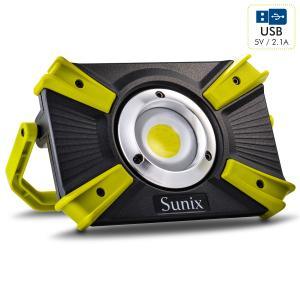 LED充電式作業灯 ワークライト IP64防水 ポータブル 投光器 10WCOB 1600LM  折り畳み式 USB出力ポート/SOSモード付き 夜間作業 アウトドア 防災 SUNIX|halhal