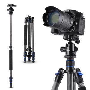 カメラ三脚 カーボン製 超軽量 1.42kg 4段 全高1650mm 8kg耐荷重 デジタルカメラ 一眼レフカメラ Canon Nikon Petax Sonyなど用 TYCKA TK109|halhal