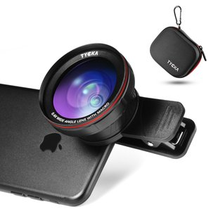 2in1 スマホ用カメラレンズ 0.4X超広角レンズ+15Xマクロレンズ クリップ式 ポータブルケース付き スマートフォン/タブレット対応 TK303 TYCKA|halhal