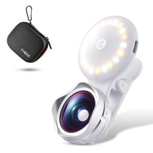 スマホレンズ美肌効果LED自撮りライト15xマクロレンズと110°広角レンズ付き白/暖/混色3種類のライト クリップ式多機種対応TK314 TYCKA|halhal
