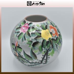 九谷焼 花瓶 9号 銀巻 山茶花 item no.1f003|hamadaya-shokki