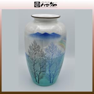 九谷焼 花瓶 10号 銀彩木立 木箱入り item no.1f005|hamadaya-shokki