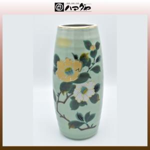 九谷焼 花瓶 8号 山茶花 花台付き 展示品限り item no.1f041|hamadaya-shokki
