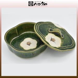 織部焼 鉢 織部椿蓋物(大) 現品限り item no.1f048|hamadaya-shokki