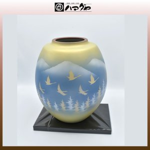 九谷焼 花瓶 8.5号 鶴銀山 木台付き item no.1f062|hamadaya-shokki