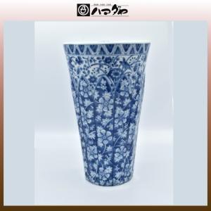 美濃焼 花瓶 染付更紗 反型花瓶 item no.1f069|hamadaya-shokki