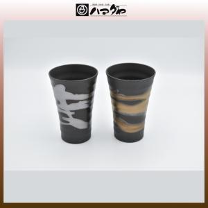 美濃焼 カップ 金銀流し ほろ酔いカップ ペア item no.1f164|hamadaya-shokki