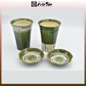 美濃焼 新緑 カップ 小皿付きペアカップ item no.1f165|hamadaya-shokki