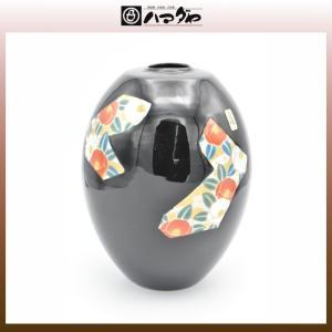 美濃焼 花瓶 7号 天目山茶花 太鼓型 木台付き item no.1f198|hamadaya-shokki