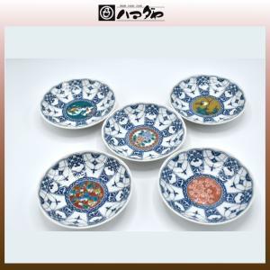 九谷焼 皿セット 櫻珞歴代画4号皿揃え 5枚セット item no.1f674|hamadaya-shokki