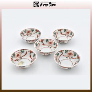 美濃焼 小鉢 赤絵草花文小付揃 5セット item no.2f430|hamadaya-shokki