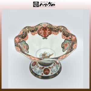 古伊万里焼 鉢 染錦幕絵元禄地紋盛鉢 item no.2f433|hamadaya-shokki