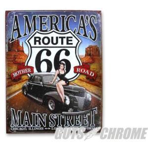 メタルサイン Route66 America's MainStreet GUTS CHROME(ガッツクローム) hamashoparts