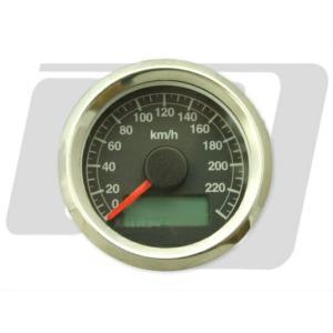 ビッグツイン(95年〜)、スポーツスター 電気式アジャスタブルスピードメーター 黒盤 ステンボディ GUTS CHROME(ガッツクローム)|hamashoparts