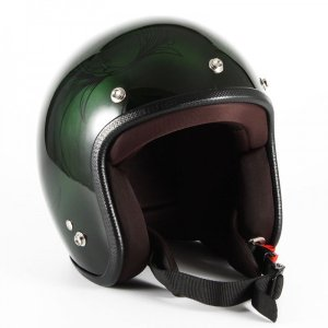 JCP-57 Leaf レディース グリーン/ブラック グロス仕上げ ジェットヘルメット 72JAM(ジャムテックジャパン)|hamashoparts