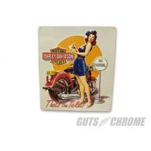 メタルサイン H-D Ticket Babe GUTS CHROME(ガッツクローム)|hamashoparts