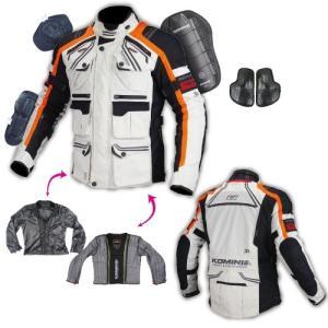 JK-593 07-593 プロテクトフルイヤーツーリングジャケット ライトグレー/オレンジ XLサイズ コミネ(KOMINE)|hamashoparts