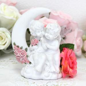 天使 エンジェル 置物 雑貨 インテリア ローズ バラ 二人 月