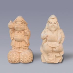 木彫恵比寿大黒 3寸 【神具】 ●お仏壇・仏具の浜屋|hamayanet