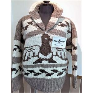 カウチンセーター ワシ柄・KANATA(カナダ) 羊毛 セーター ジャケット 暖かい 世界に1つ カナダ ウール 手編み|hamazoku