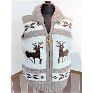 カウチンベスト・フライヤーフックス社製 羊毛 セーター ジャケット 暖かい 世界に1つ カナダ ウール 手編み|hamazoku