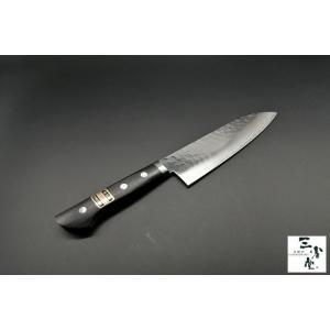 三徳 鏡面槌目 DPゴールド 口金付 165mm|hamono-sanshodo