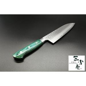 三徳 ますや V金10号 鎚目 積層 積層緑柄 170mm|hamono-sanshodo