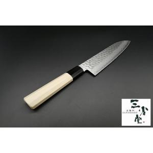 和三徳 三省堂作 鎚目 積層 10A 180mm|hamono-sanshodo