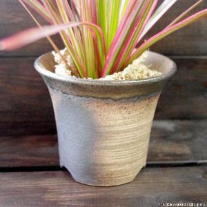 プランター おしゃれ 植木鉢 陶器 萬古焼の陶器の小さな植木鉢 トール ブラウン 3.5号|hana-kazaru