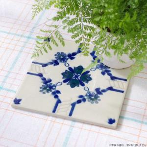 タイル おしゃれ 雑貨 デザインタイル ホワイトブルーフラワー 15cm|hana-kazaru