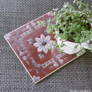 タイル おしゃれ 雑貨 デザインタイル レッドフラワーズ 15cm|hana-kazaru