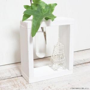 フラワーベース 花瓶 ガラス Wooden Frame w/little glass ウッドホワイトフレームベース エッフェル |hana-kazaru