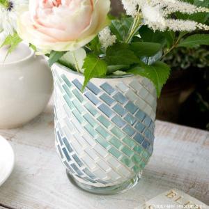 フラワーベース 花瓶 ガラス ステンドグラス風フラワーベース ブルー|hana-kazaru