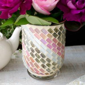 フラワーベース 花瓶 ガラス ステンドグラス風フラワーベース ピンク|hana-kazaru