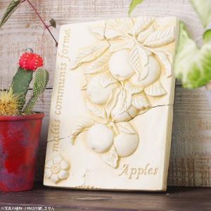 インテリア雑貨 オブジェ 壁掛け アート おしゃれインテリアプレート ホワイトフルーツアップル|hana-kazaru