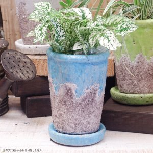 プランター おしゃれ 植木鉢 陶器 シャビーポット深鉢タイプ ブルー 約3.5号 |hana-kazaru