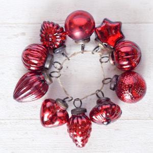 クリスマス オーナメント 飾り 真っ赤なクリスマスオーナメント ガラスボール10個セット|hana-kazaru
