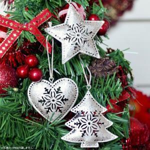 クリスマス オーナメント 飾り ブリキのクリスマスツリーオーナメント シルバー6個入|hana-kazaru