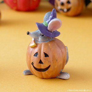 ハロウィン ガーデン雑貨 オブジェ 飾り プチファンシーマウス パンプキン|hana-kazaru