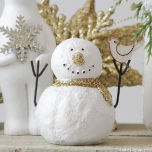 きらきらのゴールドのマフラーをつけた、可愛いスノーマンオブジェ クリスマスや冬のインテリアとして大活...