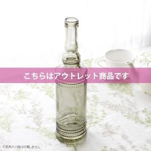 アウトレット 訳あり フラワーベース 花瓶 ガラス アンティークなスモーキーグリーンのガラス製ロングボトル|hana-kazaru