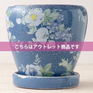【こちらはアウトレット商品です】陶器に花柄をプリントした可愛い植木鉢(プランター)。シンプルな観葉植...