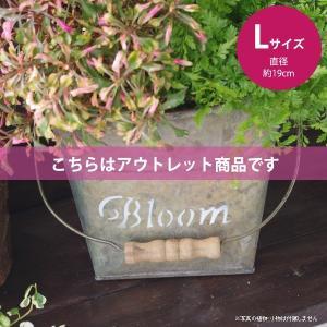 アウトレット 訳あり 鉢カバー おしゃれなブリキの鉢カバー BLOOM BUCKET Lサイズ|hana-kazaru