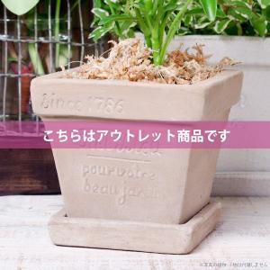 アウトレット 訳あり プランター おしゃれ 植木鉢 素焼きのナチュラルプランター スクエア ミニ 約3.5号|hana-kazaru