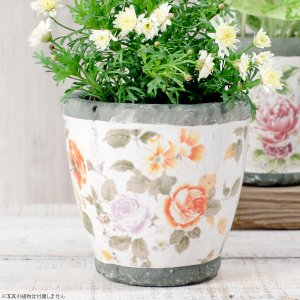 プランター おしゃれ 植木鉢 陶器 ローズフラワープランター 約4号|hana-kazaru