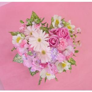 ピンクのハートアレンジ フラワーギフト|hana-mizuki